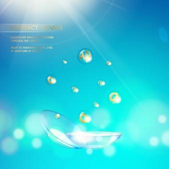 Illustrazione astratta della lente ottica blu.