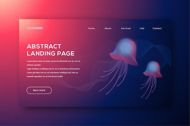 Illustrazione astratta della pagina di destinazione con la medusa di miscela all'interno