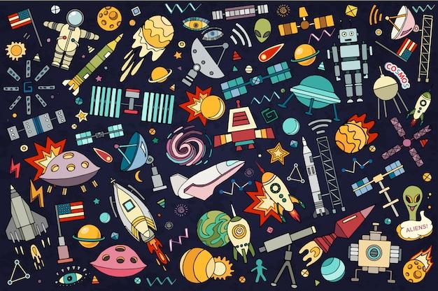 Illustrazione astratta di spazio. fumetti disegnati a mano di tecnologia