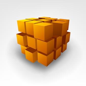 Illustrazione astratta di vettore del cubo di oro
