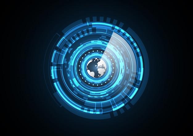 Illustrazione astratta di vettore del fondo del radar del cerchio della terra futura astratta di tecnologia