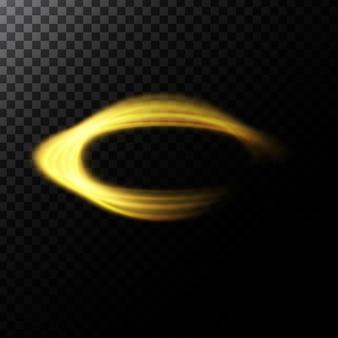 Illustrazione astratta vettoriale di un effetto di luce a forma di cerchi d'oro