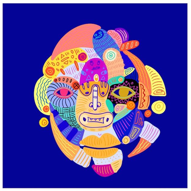 Illustrazione astratto colorato etnico testa e viso ornamento.