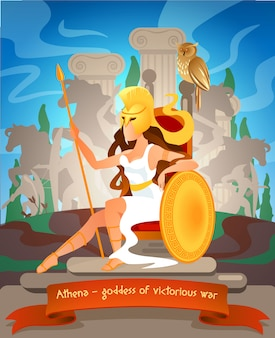 Illustrazione athena dea della guerra vittoriosa.