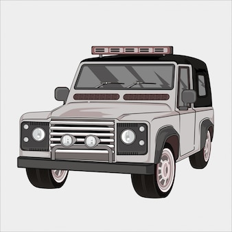 Illustrazione auto retrò, vintage classico 4x4