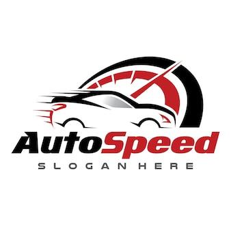 Illustrazione automobilistica di vettore di logo di velocità e dell'automobile