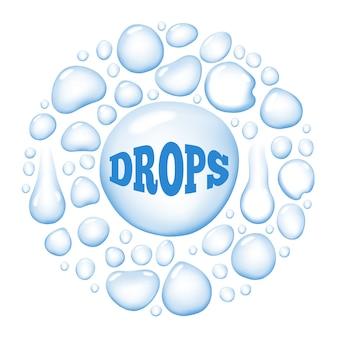 Illustrazione bagnata rotonda di vettore delle gocce di acqua
