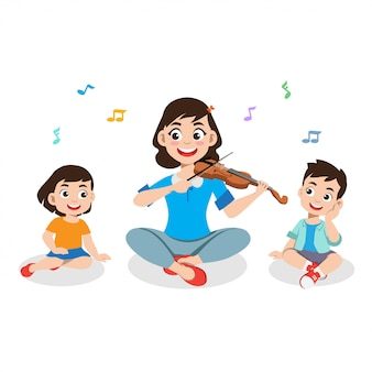 Illustrazione bambini e genitori suonano musica