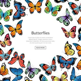 Illustrazione, bandiera e manifesto decorativi delle farfalle