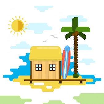 Illustrazione beach bungalow piatto di vettore di stile summer holiday
