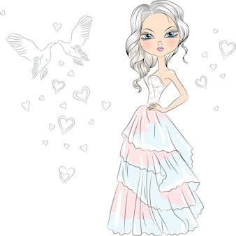 Illustrazione bella sposa ragazza alla moda nel suo abito da sposa
