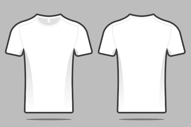 Illustrazione bianca anteriore e posteriore in bianco del modello della maglietta