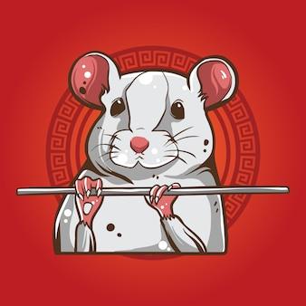 Illustrazione bianca del topo