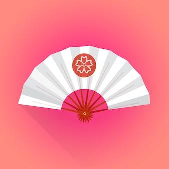 Illustrazione bianca del ventaglio di stile giapponese di colore piano di stile