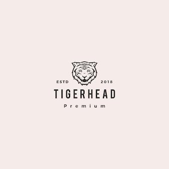 Illustrazione bianca dell'icona di vettore di logo della tigre