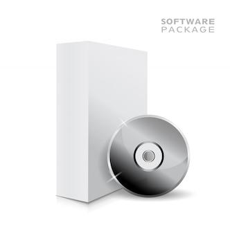 Illustrazione bianca in bianco aperta realistica della scatola 3d e musica o cd molle.