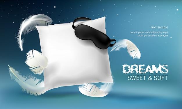 Illustrazione bianca realistica del cuscino di vettore 3d