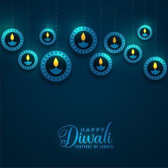 Illustrazione blu brillante delle lampade di diya di diwali