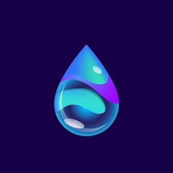 Illustrazione blu futuristica astratta di vettore di waterdrop