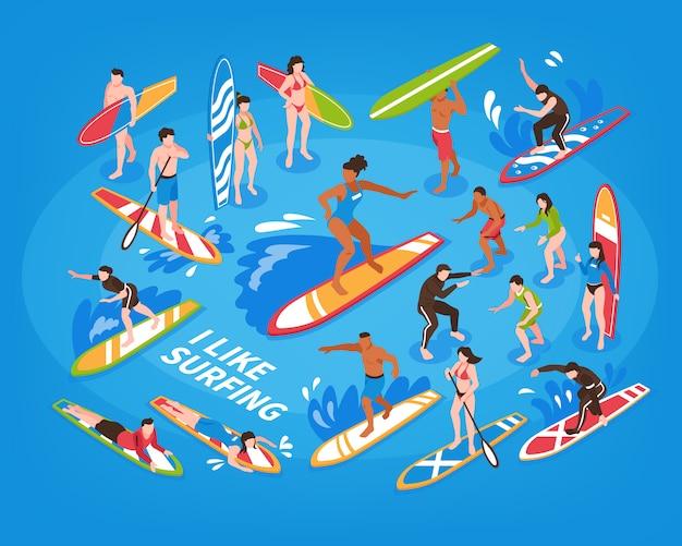 Illustrazione blu isometrica praticante il surfing