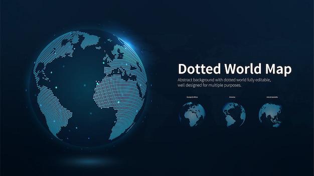 Illustrazione blu punteggiata dell'estratto della mappa di mondo