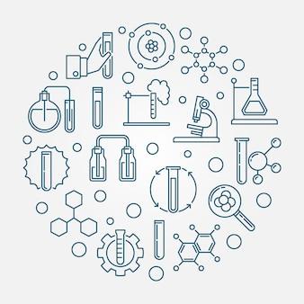 Illustrazione blu rotonda dell'icona del profilo di analisi chimica