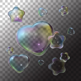 Illustrazione bolla di sapone cuore e stella su trasparente