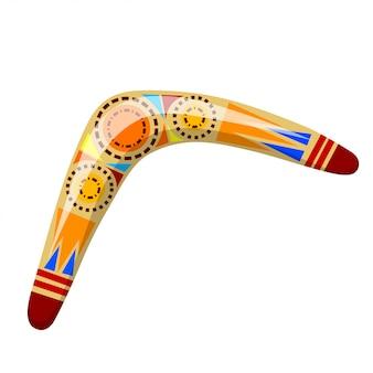 Illustrazione boomerang di legno australiano. boomerang dei cartoni animati. illustrazione del boomerang colorato. stock vettoriale