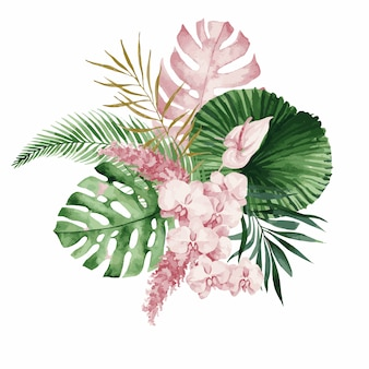 Illustrazione, bouquet di acquerelli con foglie e fiori tropicali, orchidea bianca, rosa rosa e anthurium bianco, monstera e foglie di palma.