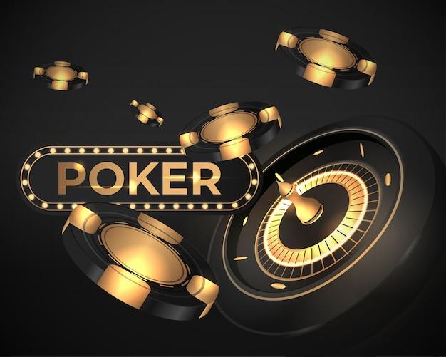 Illustrazione brillante della bandiera della rotella di roulette del poker del casinò