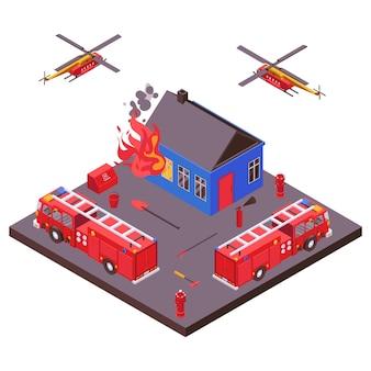 Illustrazione bruciante della casa estinta attrezzatura di salvataggio di emergenza di estinzione di incendio. autopompe antincendio, elicotteri.