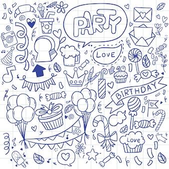 Illustrazione buon compleanno ornamenti disegnati a mano libera doodle sfondo