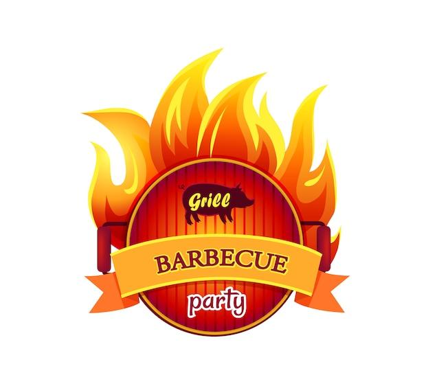 Illustrazione calda dell'icona del partito del barbecue della griglia