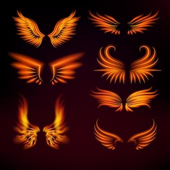 Illustrazione calda delle ali di arte dell'ustione dell'ardore ardente mistico della mosca di incandescenza della piuma di fantasia della piuma di fantasia dell'uccello dell'uccello