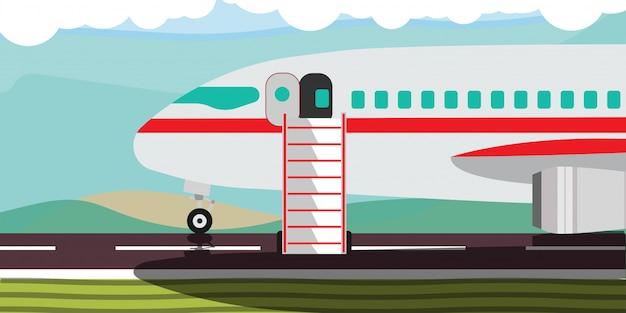 Illustrazione calda di viaggio dell'insegna di affare di offerta con l'aereo.