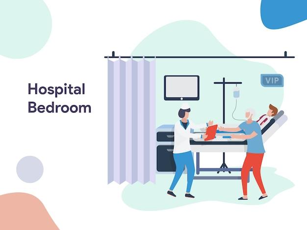Illustrazione camera da letto dell'ospedale