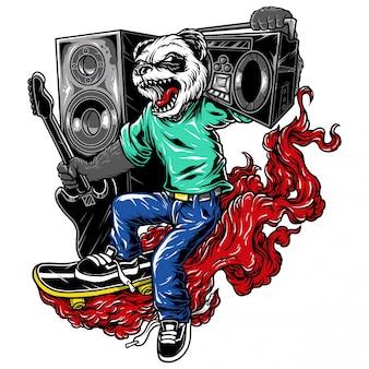 Illustrazione carattere skate music panda