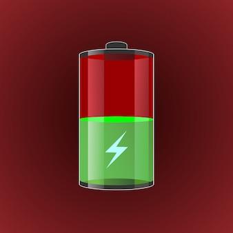 Illustrazione carica batterie trasparenti.