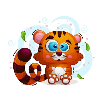 Illustrazione carino di un animale tige