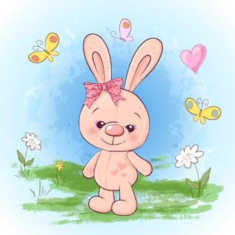 Illustrazione cartolina carino piccola lepre fiori e farfalle.
