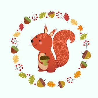 Illustrazione cartone animato scoiattolo con ghirlanda di foglie autunnali e bacche. ciao sfondo autunnale.