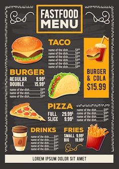 Illustrazione cartoon vettore di un menu di ristorante fast food di progettazione