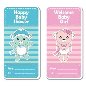 Illustrazione cartoon vettoriale con cute baby rosa e blu orso su sfondo a righe adatto per design di etichetta doccia baby, set di banner e carta di invito