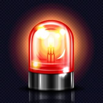 Illustrazione chiara della sirena della lampada rossa dell'allarme o del lampeggiatore di emergenza dell'ambulanza e della polizia.