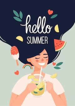 Illustrazione ciao estate con donna felice con limonata nelle mani