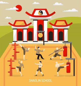 Illustrazione cinese di arti marziali del tempio