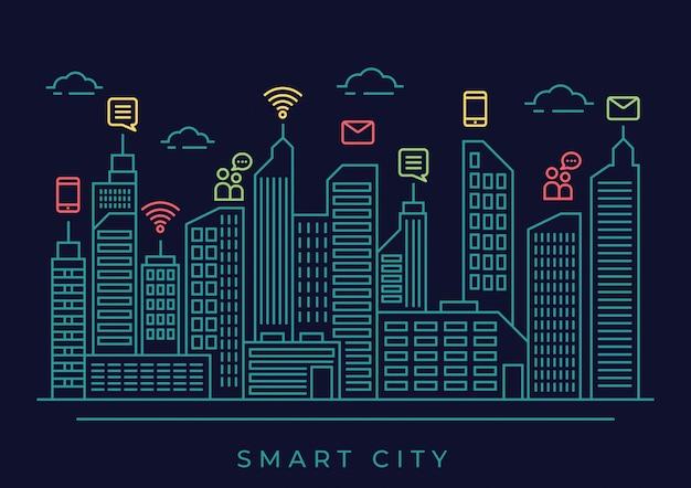 Illustrazione città intelligente