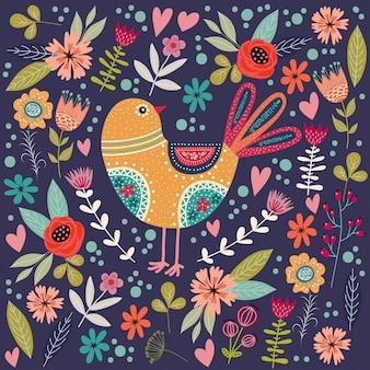 Illustrazione colorata con bellissimi uccelli folk astratti e fiori.