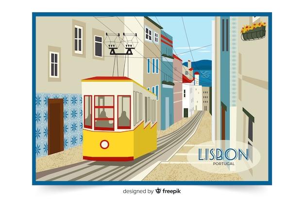 Illustrazione colorata con la città di lisbona