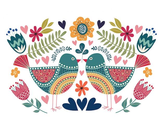 Illustrazione colorata con uccelli di coppia, fiori ed elementi di design folk